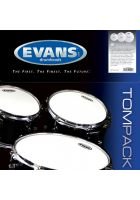 """Evans G2 Clear Tom Pack Fusion (10""""+12""""+14"""") ETP-G2CLR-F"""
