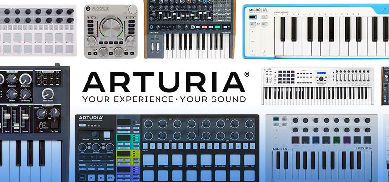 Arturia-Headerbild mit vielen Produkten und dem Logo